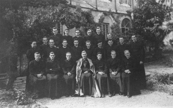 A 1948 photo of Karol Wojtyla, last row, right, during his two-year stay at the Belgian College in Rome. Wojtyla later became Pope John Paul II.  <span class=meta>(&#40;AP Photo&#41; )</span>